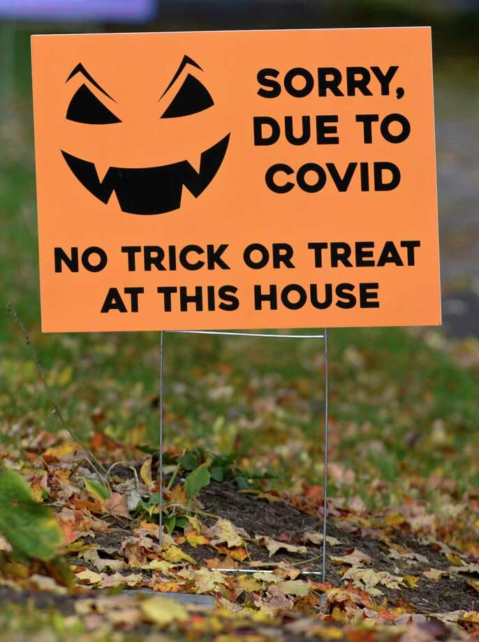 Danbury Mayor Mark Boughton advising against trick-or-treating on Deer Hill Avenue, a popular spot, on Halloween this year. Some residents have placed signs in their yards and the police will likely post officers to keep non-residents from coming into the area that night. Photo: H John Voorhees III / Hearst Connecticut Media / The News-Times