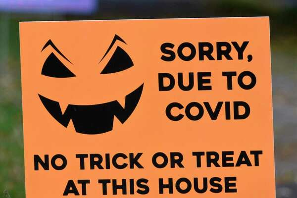 Danbury Mayor Mark Boughton advising against trick-or-treating on Deer Hill Avenue, a popular spot, on Halloween this year. Some residents have placed signs in their yards and the police will likely post officers to keep non-residents from coming into the area that night.