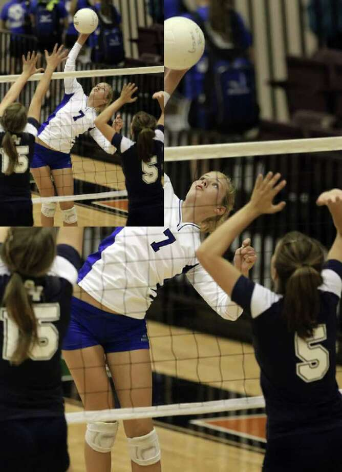 MacArthur's Shannon Porter (07) goes for a hit against Smithson Valley's Macie McKay (15) and Libby Defries (05) in volleyball at Blossom Gym on Tuesday, August 31, 2010. MacArthur defeated Smithson Valley, 3-0, to take the match. Kin Man Hui/kmhui@express-news.net