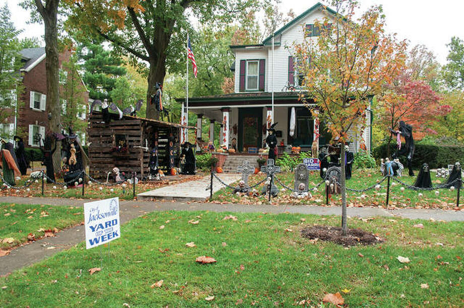 Michael and Kimberly Sieving of 1243 W. State St. are this week's recipients of Jacksonville Mayor Andy Ezard's Yard of the Week honors. The yard near Duncan Park currently is home to ghosts, ghouls and other Halloween-themed decorations. Photo: Darren Iozia | Journal-Courier