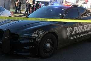 File photo of a Bridgeport police cruiser at a crime scene in Bridgeport, Conn.