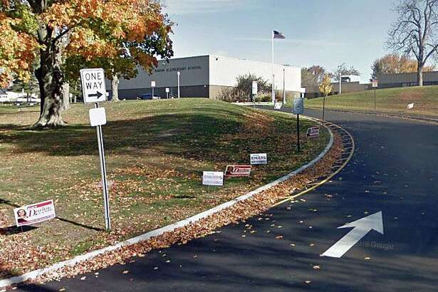 A Google Streetview screenshot of the entrance to the Marvin Elementary School in Norwalk, Conn.