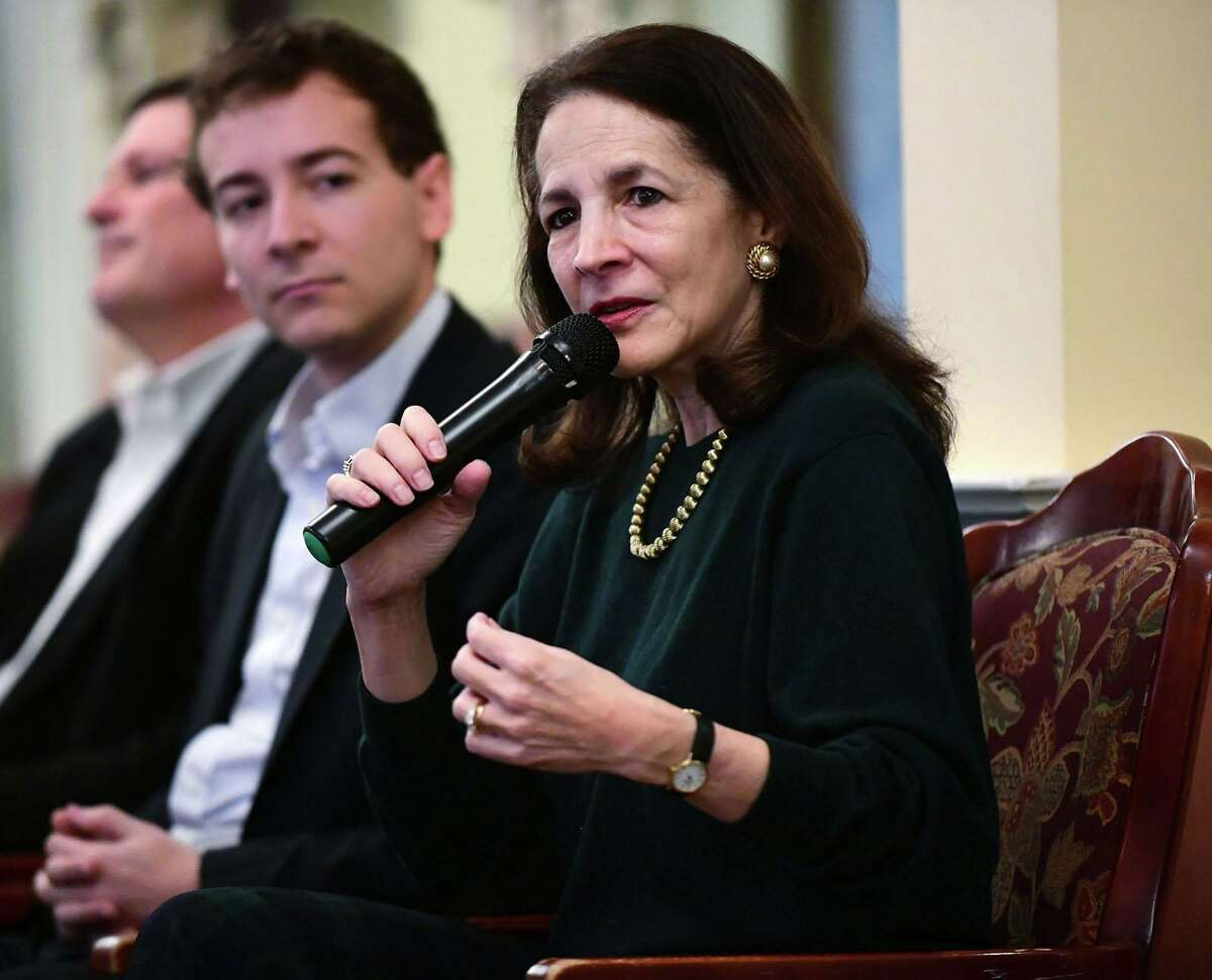 FILE PHOTO: State Rep. Gail Lavielle, R-Wilton, right, moderated a Zoom discussion Tuesday, Oct. 27, on proposals to change zoning and affordable housing laws in Connecticut. With her at a February forum in Wilton are State Rep. Tom O'Dea and State Sen. Will Haskell.