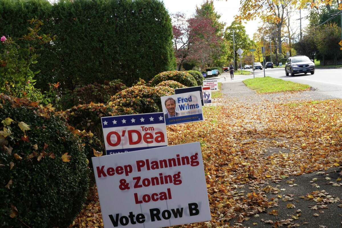 A plea to keep control of zoning in local hands is part of a group of Republican campaign signs on the corner of Church Street and South Avenue in New Canaan Tuesday, Oct. 28, 2020. Efforts Republicans fear will regionalize zoning were discussed at a Zoom meeting that night.
