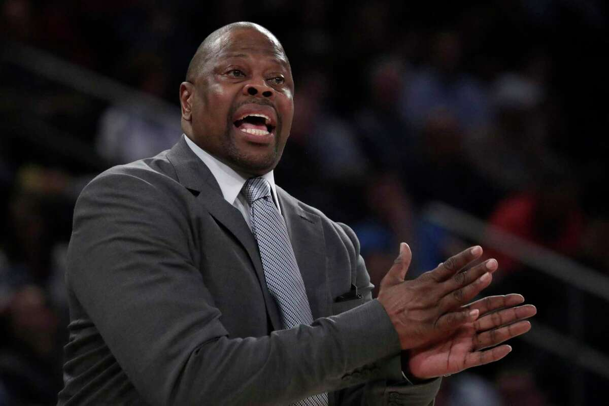 Georgetown head coach Patrick Ewing talks to his team during the first half of an NCAA college basketball game against Seton Hall in the Big East men's tournament, Thursday, March 14, 2019, in New York. (AP Photo/Julio Cortez)