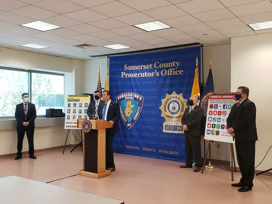 Somerset County Prosecutor Michael H. Robertson made the announcement at the Somerset County Prosecutor's Office with U.S. Attorney for the District of New Jersey Craig Carpenito, and leaders and representatives of the other participating agencies. Photo: Somerset County Prosecutor's Office