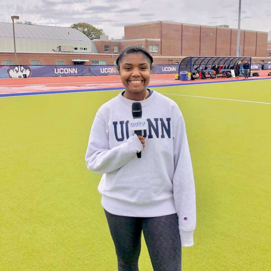 Samara Thacker found covering sports at UConn to be as rewarding as playing soccer and basketball at Law. Photo: UCTV / Contributed Photo / Milford Mirror