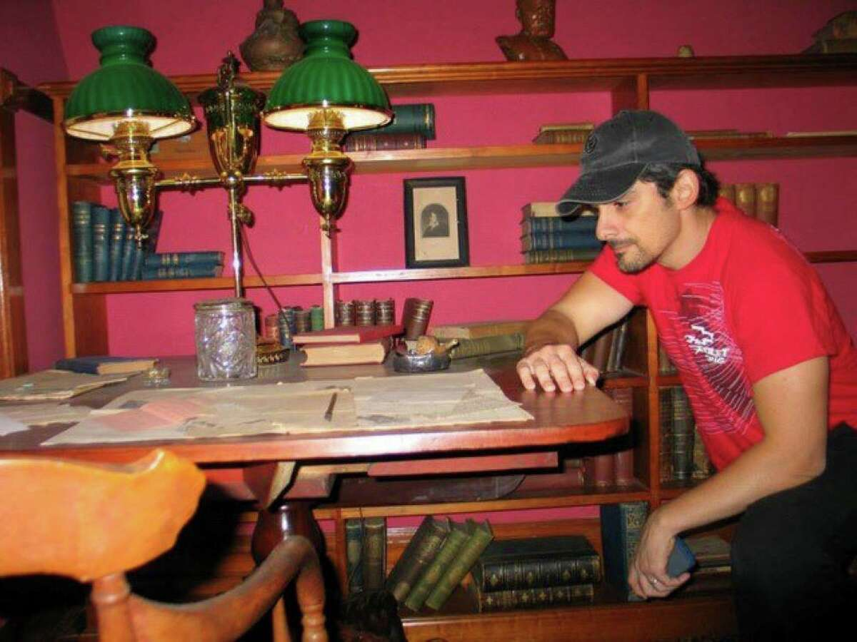 Country star Brad Paisley, a Mark Twain fan, has visited The Mark Twain House & Museum in Hartford multiple times, and is seen here in the billiard room in 2013. Paisley will be one of several featured guests during the star-studded lineup for