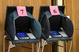 Voting electronic machines are shown at the MultiService Center on West Gray St. on Election Day on Nov. 5, 2019 in Houston.