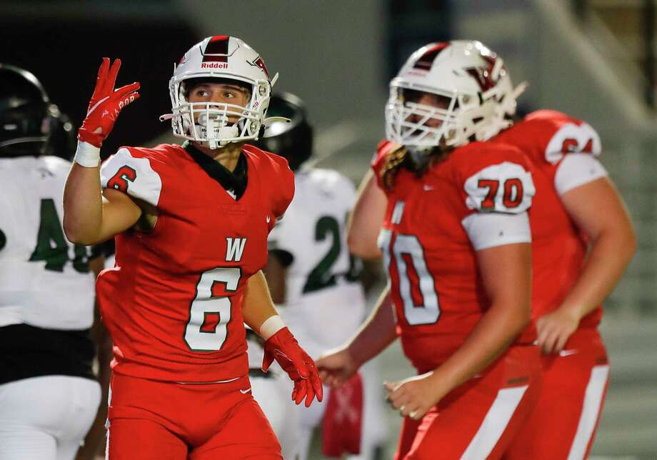The Woodlands wide receiver Ben Ferguson (6) reacts after running back Lane O'Brien's 3-yard touchdown run during the third quarter of a non-district high school football game at Woodforest B Photo: Jason Fochtman, Houston Chronicle / Staff Photographer / 2020 © Houston Chronicle