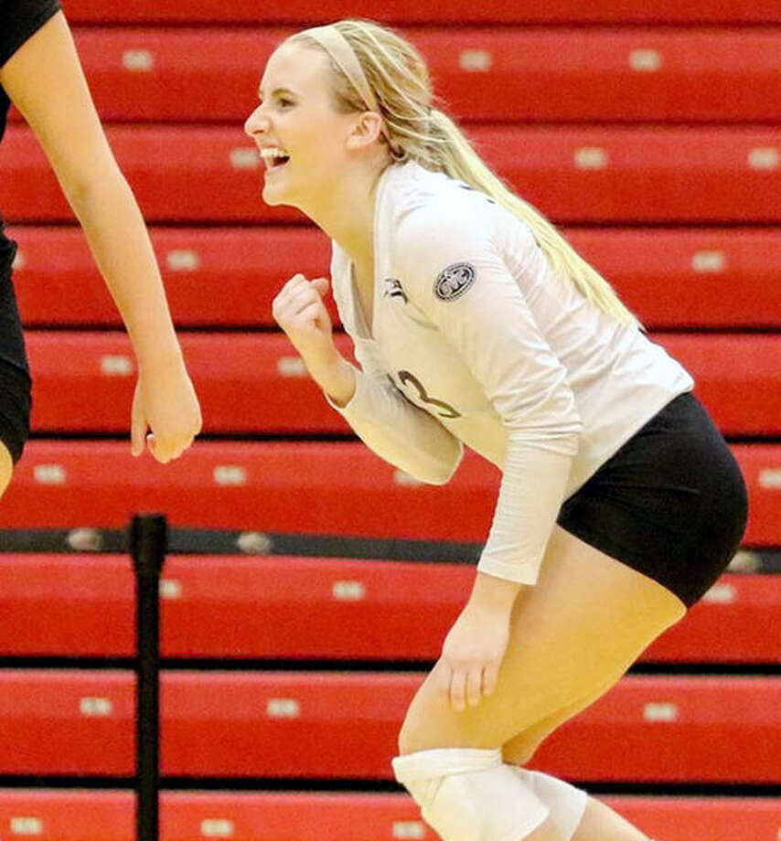 SIUE's Jordyn Klein celebrates during a match last season. She and her teammates will open their 2021 season Feb. 7 at Southeast Missouri. Photo: SIUE Athletics
