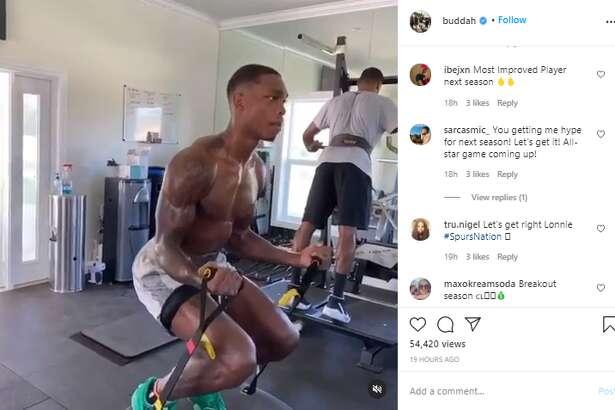 Instagram screenshot of Spurs guard Lonnie Walker's workout.