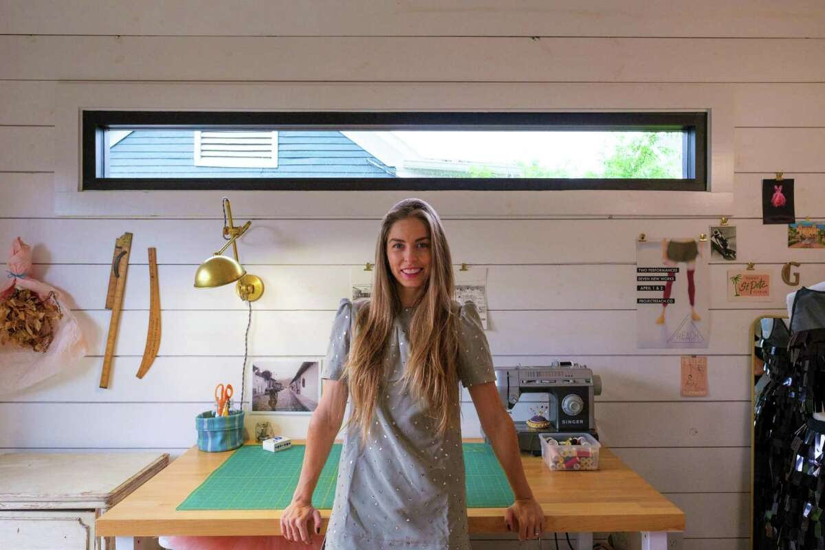 """Houston Ballet first soloist Allison Miller fitted out her """"she shed"""" studio for sewing and crafts."""