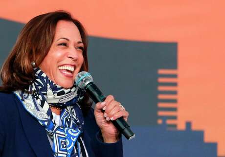Senator from California and Democratic vice presidential nominee Kamala Harris speaks during a voter mobilization event on October 27, 2020, in Las Vegas. (Photo by Ronda Churchill / AFP) (Photo by RONDA CHURCHILL/AFP via Getty Images)