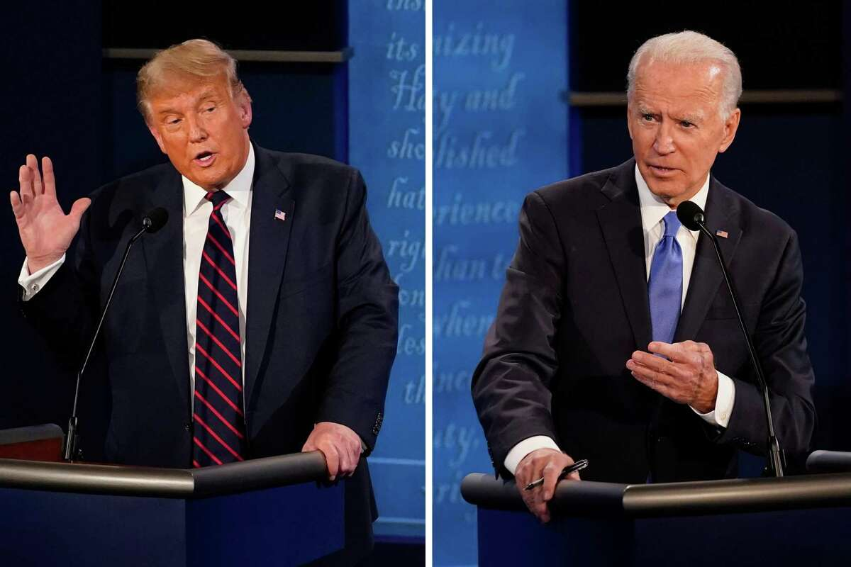 U.S. President Donald Trump (left) speaks during the first presidential at the Health Education Campus of Case Western Reserve University on September 29, 2020 in Cleveland, Ohio. / Democratic presidential candidate former Vice President Joe Biden (right) answers a question during the second and final presidential debate Thursday, Oct. 22, 2020, at Belmont University in Nashville, Tenn.