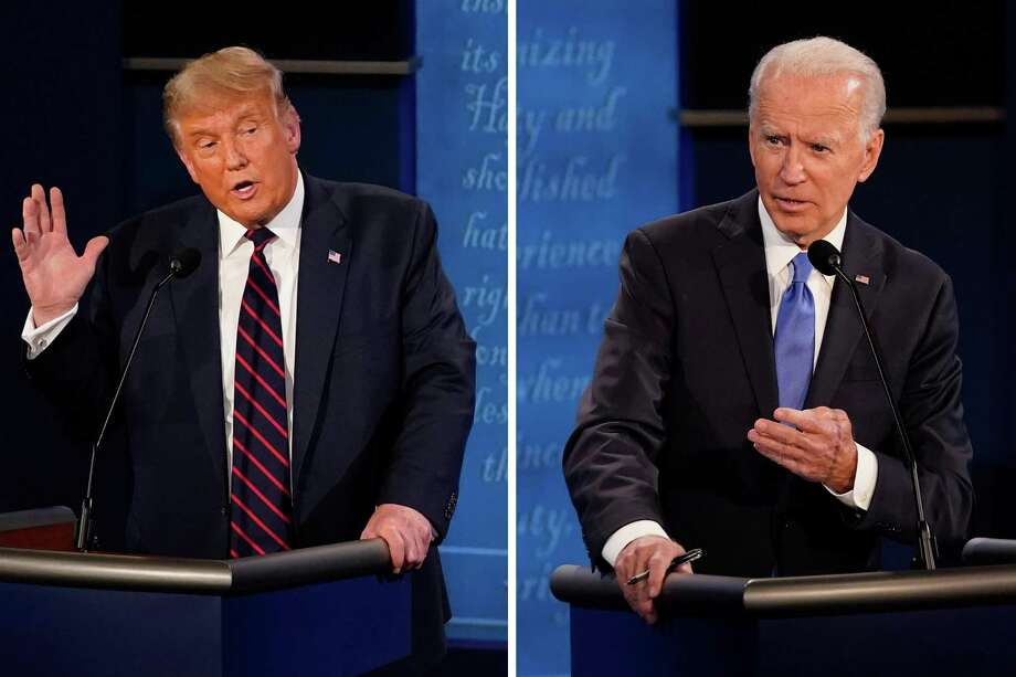 U.S. President Donald Trump (left) speaks during the first presidential at the Health Education Campus of Case Western Reserve University on September 29, 2020 in Cleveland, Ohio. / Democratic presidential candidate former Vice President Joe Biden (right) answers a question during the second and final presidential debate Thursday, Oct. 22, 2020, at Belmont University in Nashville, Tenn. Photo: Morry Gash / Pool / ONLINE_YES