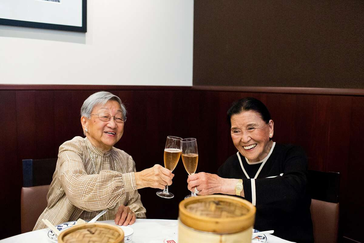 Florence Lin and Cecilia Chiang are two of the most influential Chinese cooks in the world. Both are well into their 90s, and both are Bay Area residents. Cecilia founded the Mandarin restaurant in Ghirardelli Square, and has mentored countless of Chinese chefs, along with writing several cookbooks and two memoirs. Florence, a longtime New York resident, had the same effect on the East Coast, writing several cookbooks that made Chinese cooking accessible to Westerners. They met for the first time at Yank Sing in San Francisco, Calif., Saturday August 10, 2013. Here Lin and Chiang cheers a glass of champagne.