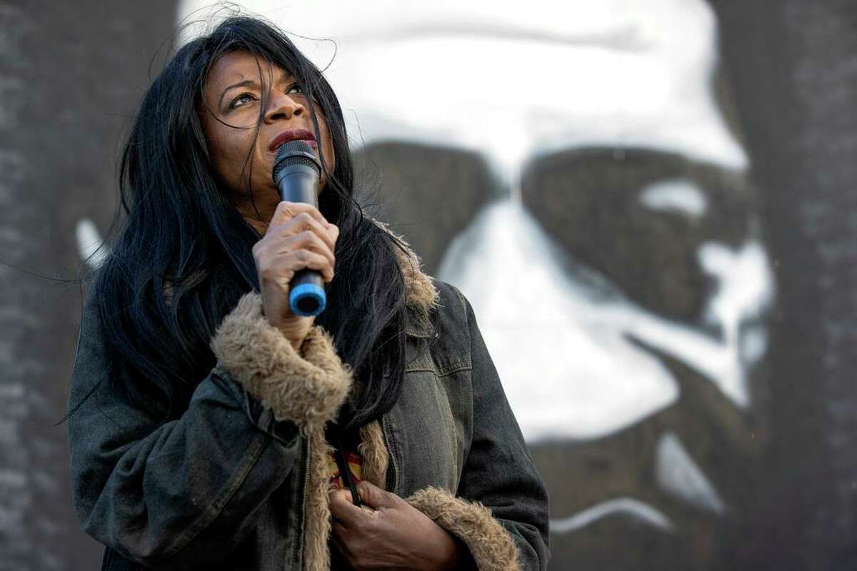 George Floyd's aunt Angela Harrelson speaks during a gathering to observe what would have been Floyd's 47th birthday, Wednesday, Oct. 14, 2020, in Minneapolis. (Carlos Gonzalez/Star Tribune via AP)
