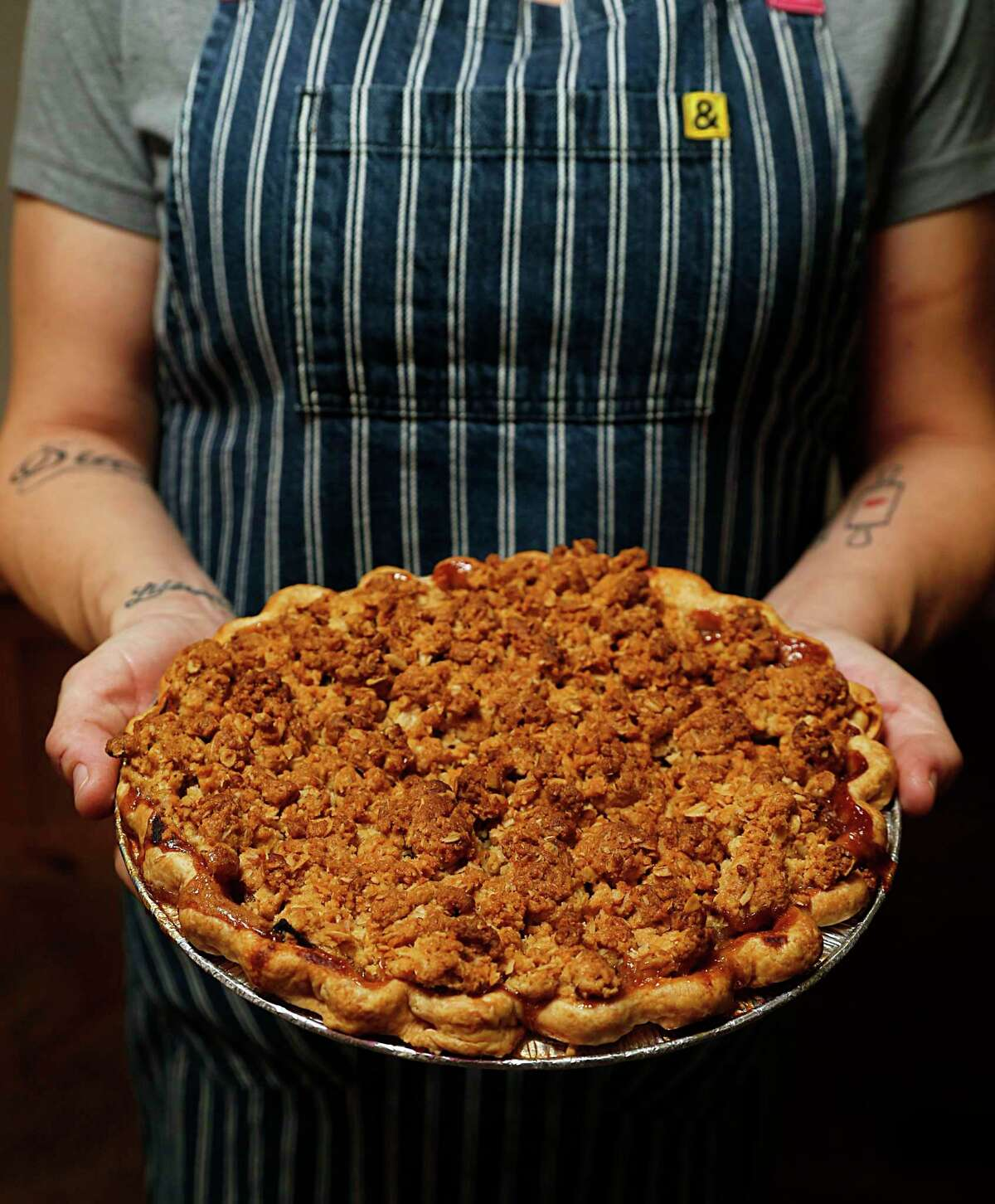 The apple pie recipe from pastry chef Rebecca Masson (owner of Fluff Bake Bar in the Heights) calls for a buttery crumble on top.