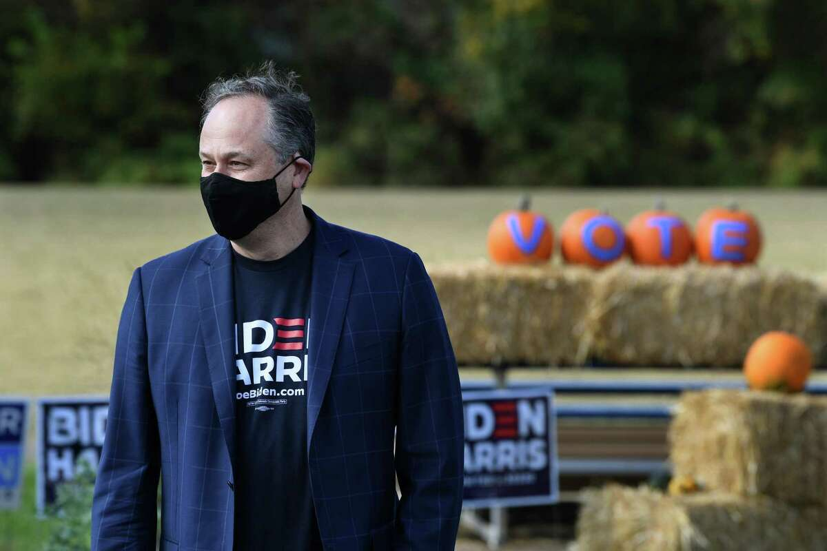 Doug Emhoff, the husband of Democratic vice-presidential candidate Kamala Harris, at a campaign event earlier this month in Sterling, Va.