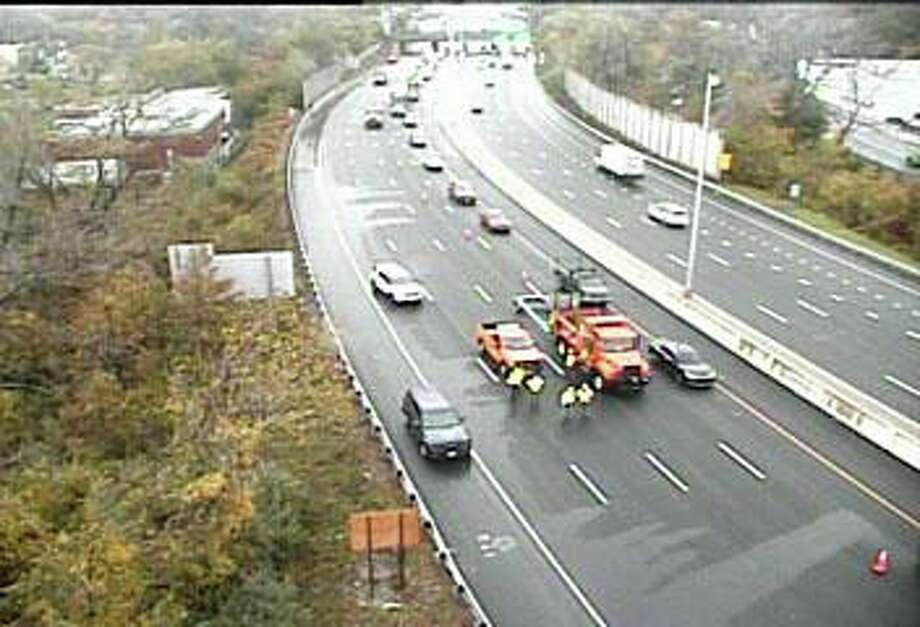 Emergency work has closed three northbound lanes on I-95 on Wedesday afternoon. In a 1:24 p.m. traffic alert, the state Department of Transportation said the three right lanes are closed between exits 44 and 46. Photo: CT DOT Traffic Cam Image