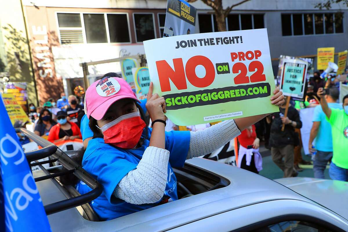 A protest against a ballot initiative that would allow Uber and Lyft to continue classifying drivers as independent contractors, in San Francisco on Oct. 15.