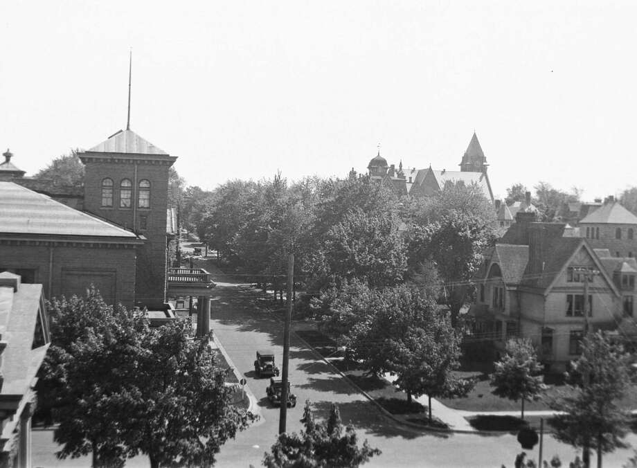 A birds-eye view near the corner of First and Maple Street looking south circa 1930s. (Manistee County Historical Museum photo)