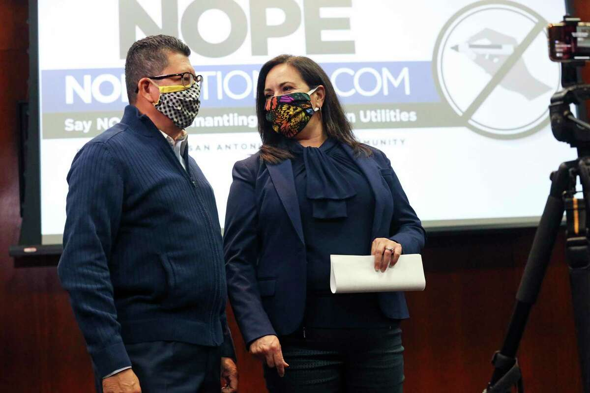 Richard Perez, San Antonio Chamber of Commerce president, and Cristina Aldrete, North SanAntonio Chamber of Commerce president, chat as heads of local chambers of commerce voice their opposition to the Recall CPS petition on Oct. 28, 2020.