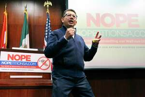 Richard Perez, San Antonio Chamber of Commerce president, offers his viewpoint as heads of local chambers of commerce voice their opposition to the Recall CPS petition on Oct. 28, 2020.