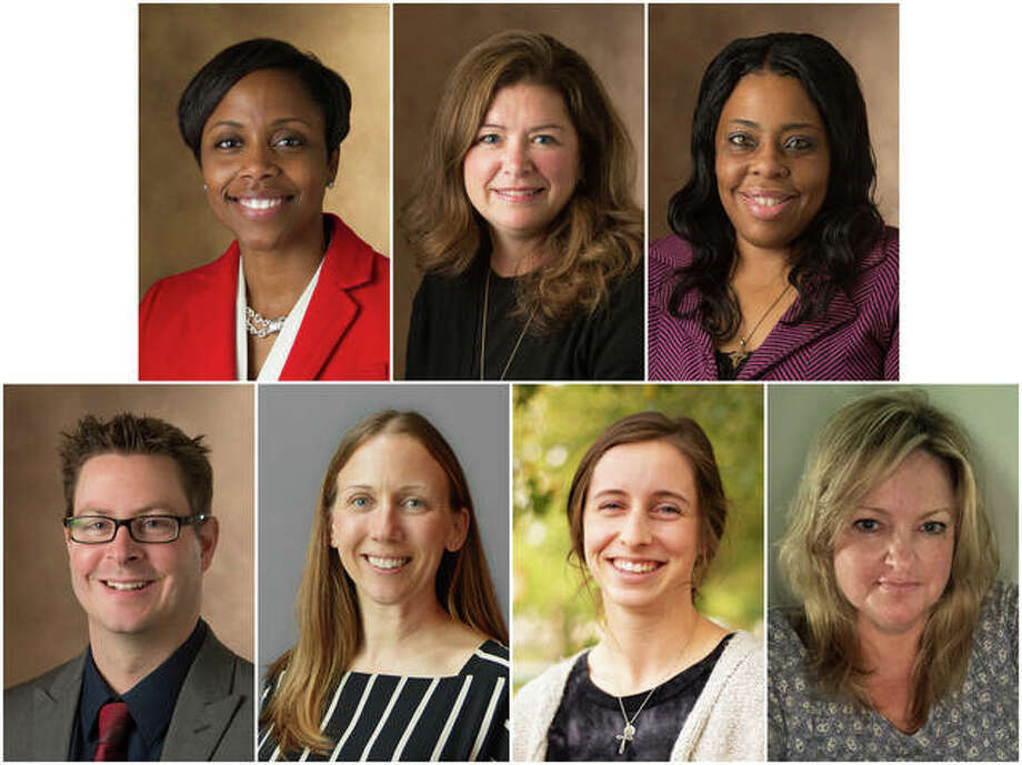 SIUE School of Nursing finalists for March of Dimes 2020 Nurse of the Year Awards include, from left, top, Jerrica Ampadu, Sheri Compton-McBride and Tracy Cooley, and, bottom, Kevin Stein, Annie Imboden, student Sydney Kesner, and Nancy Kurilla.
