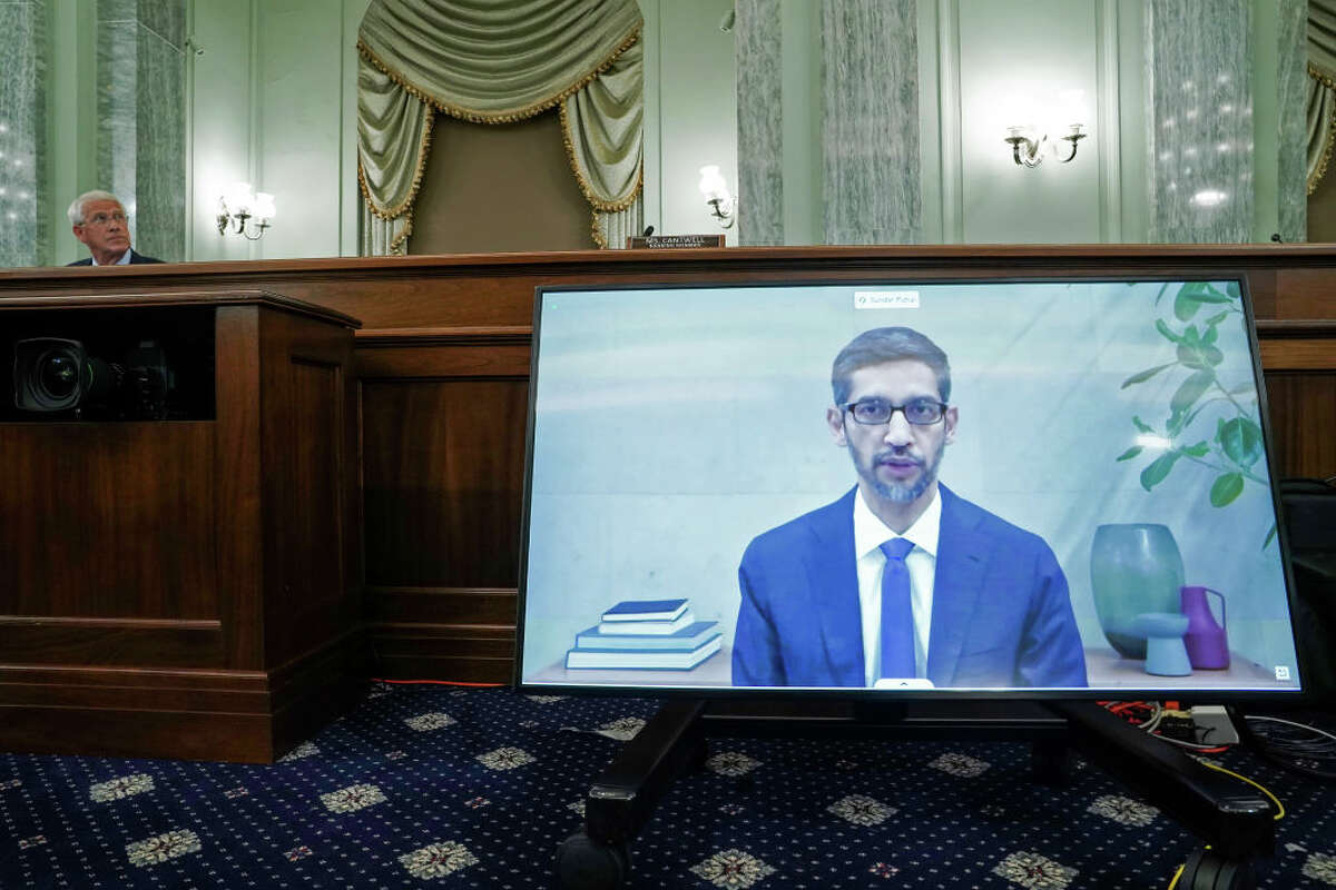 WASHINGTON, DC - OCTOBER 28: Google CEO Sundar Pichai gives his opening statement remotely as Chairman Roger Wicker (R-MS) looks on during a Senate Commerce, Science, and Transportation Committee hearing with big tech companies October 28, 2020 on Capitol Hill in Washington, DC. The committee is discussing reforming Section 230 of the Communications Decency Act. (Photo by Greg Nash-Pool/Getty Images)