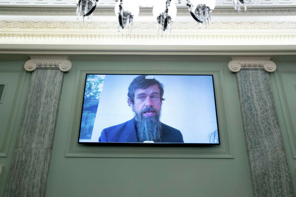 WASHINGTON, DC - OCTOBER 28: CEO of Twitter Jack Dorsey appears on a monitor as he testifies remotely during the Senate Commerce, Science, and Transportation Committee hearing 'Does Section 230's Sweeping Immunity Enable Big Tech Bad Behavior?', on Capitol Hill, October 28, 2020 in Washington, DC. CEO of Twitter Jack Dorsey; CEO of Alphabet Inc. and its subsidiary Google LLC, Sundar Pichai; and CEO of Facebook Mark Zuckerberg all testified virtually at the hearing. Section 230 of the Communications Decency Act guarantees that tech companies can not be sued for content on their platforms, but the Justice Department has suggested limiting this legislation. (Photo by Michael Reynolds-Pool/Getty Images)