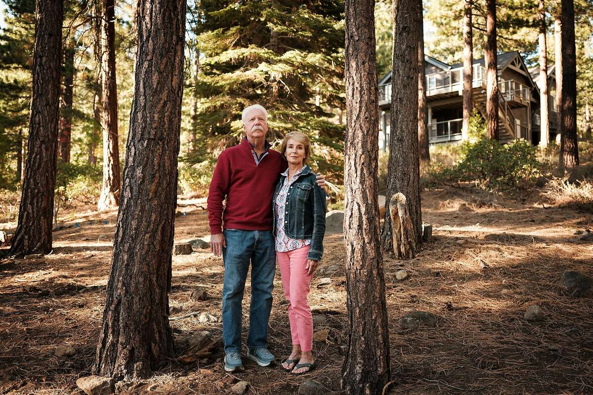 Joe and Edie Farrell outside their home in Incline Village, Nev., on Oct. 20, 2020.
