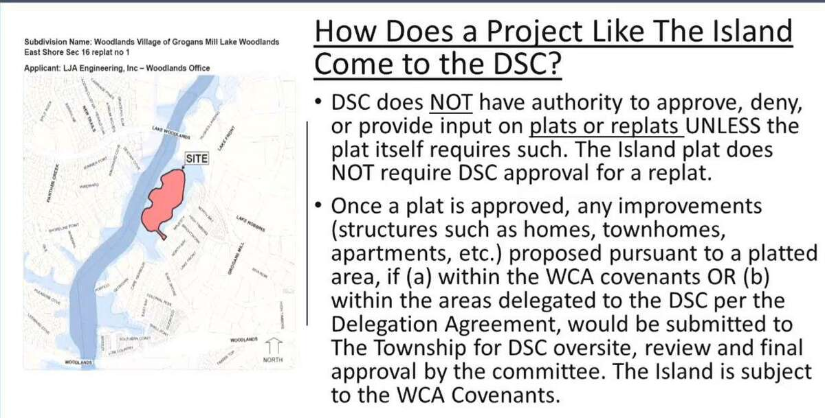 DSC legal counsel Bret Strong used many slides, like this one focused on Mitchell Island, to explain how the issue of development on Mitchell Island is regulated, notably that any changes to the initial land use designation would need to be approved by the Development Standards Committee. Howard Hughes officials are now seeking to build between 25-30 homes on the 23-acre island.