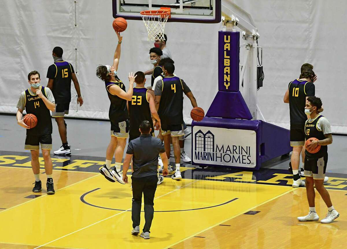 University at Albany men's basketball team practices in the SEFCU Arena at University at Albany on Wednesday, Oct. 28, 2020 in Albany, N.Y. (Lori Van Buren/Times Union)
