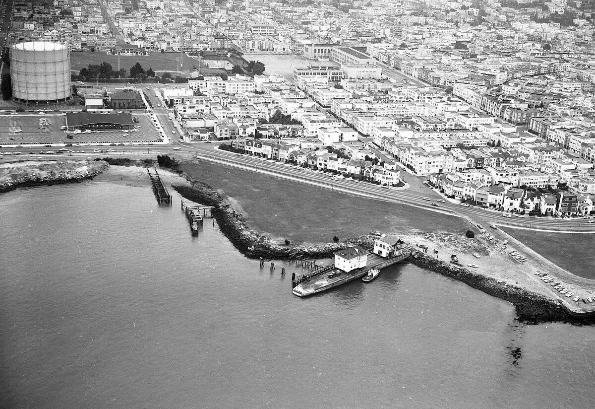 July 3, 1962: A Pacific Heights mansion is loaded on a barge for a trip across the Bay to its new home in Belvedere. The home at 1818 Broadway in San Francisco was replaced with apartments.