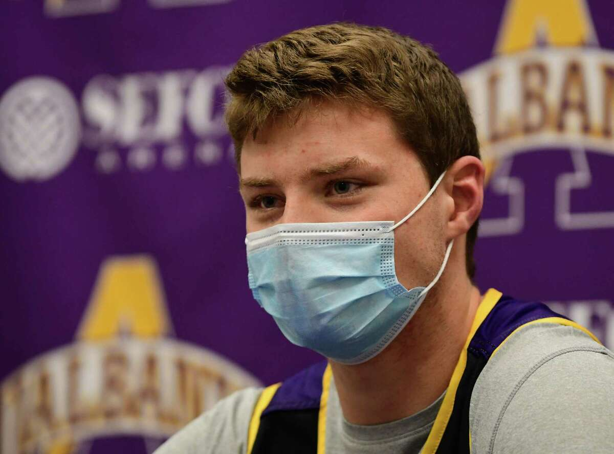 University at Albany men's basketball player Trey Hutcheson speaks during a press conference in the SEFCU Arena at University at Albany on Wednesday, Oct. 28, 2020 in Albany, N.Y. (Lori Van Buren/Times Union)