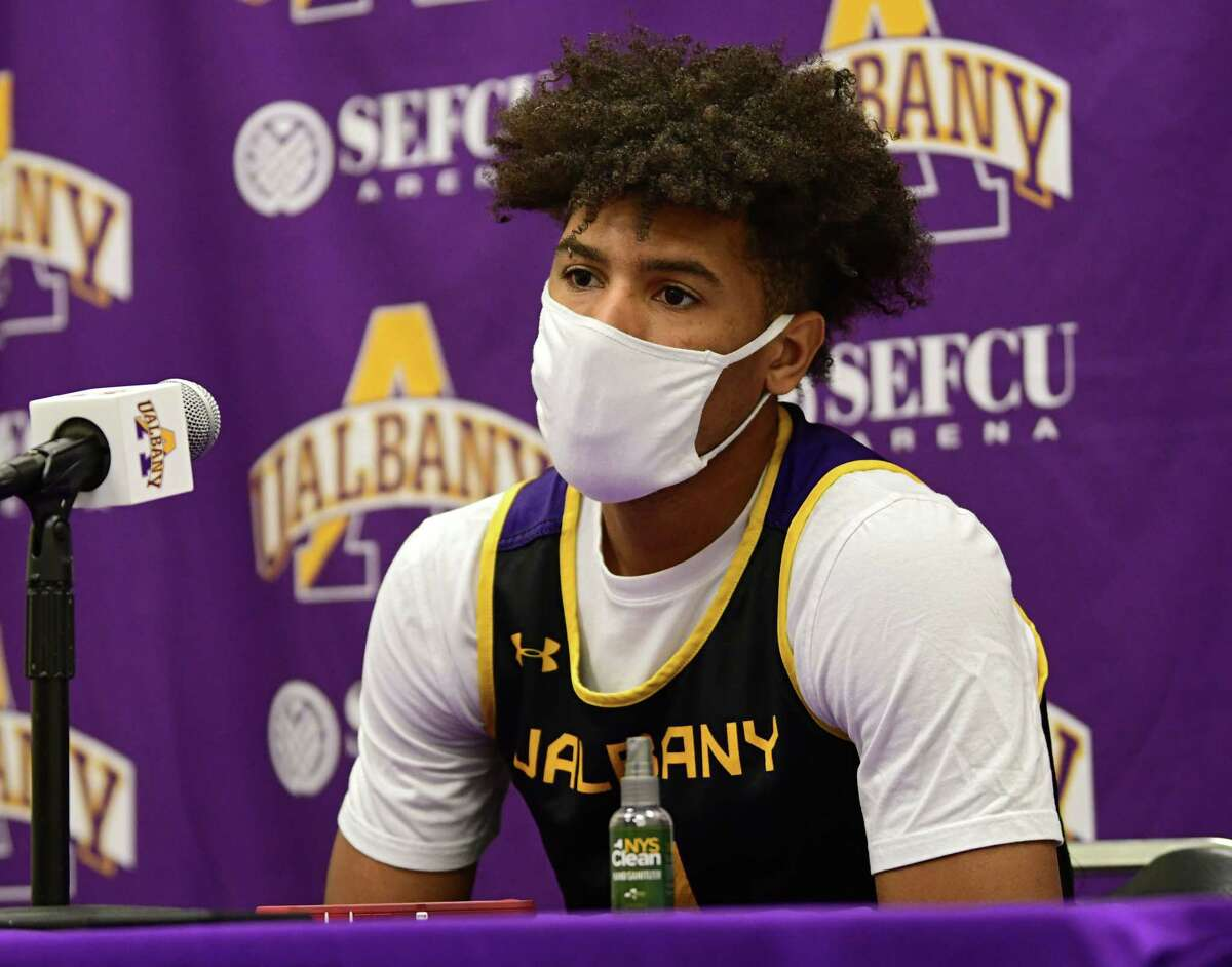 University at Albany men's basketball player JoJo Anderson speaks during a press conference in the SEFCU Arena at University at Albany on Wednesday, Oct. 28, 2020 in Albany, N.Y. (Lori Van Buren/Times Union)