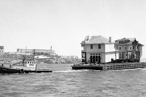 July 3, 1962: A Pacific Heights mansion crosses the San Francisco Bay to its new home in Belvedere. The Moffitt Mansion was chainsawed in half and placed on a barge.