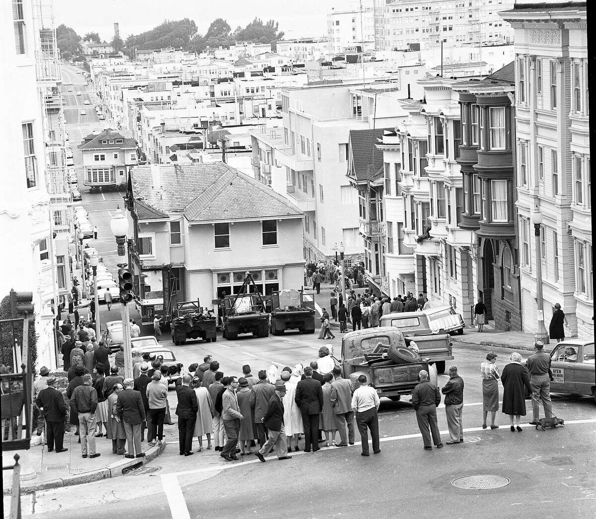 July 3, 1962: The Moffitt Mansion heads down Broadway and through the Marina District on its way to a barge. The Pacific Heights home floated across the San Francisco Bay to its new home in Belvedere.