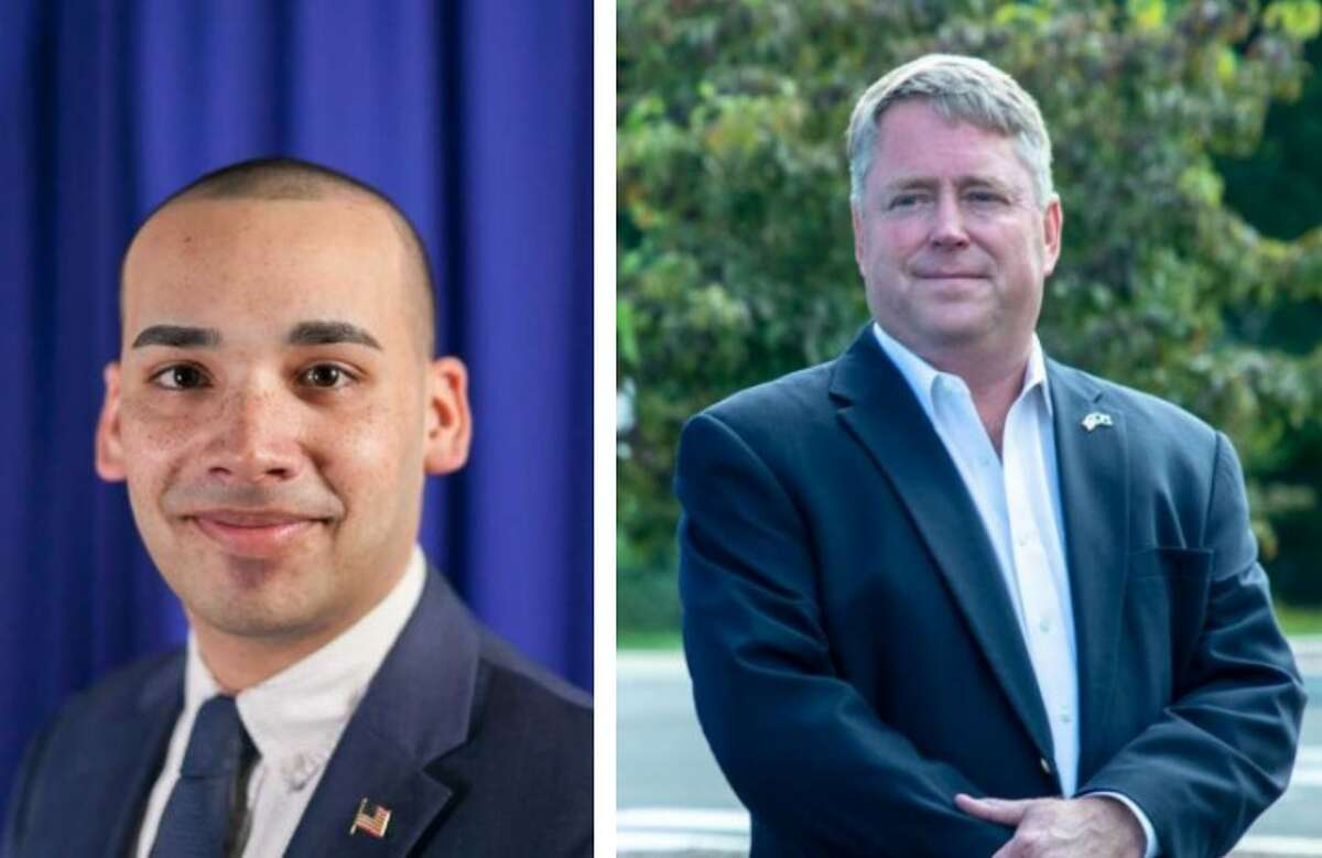 A composite image of Democratic incumbent state Rep. Raghib Allie-Brennan and his Republican challenger for the state house 2nd district, Dan Carter.