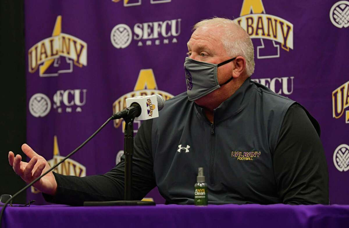 UAlbany football head coach Greg Gattuso said the buildup to full-contact drills will be cautious to help avoid soft-tissue injuries. (Lori Van Buren/Times Union archive)