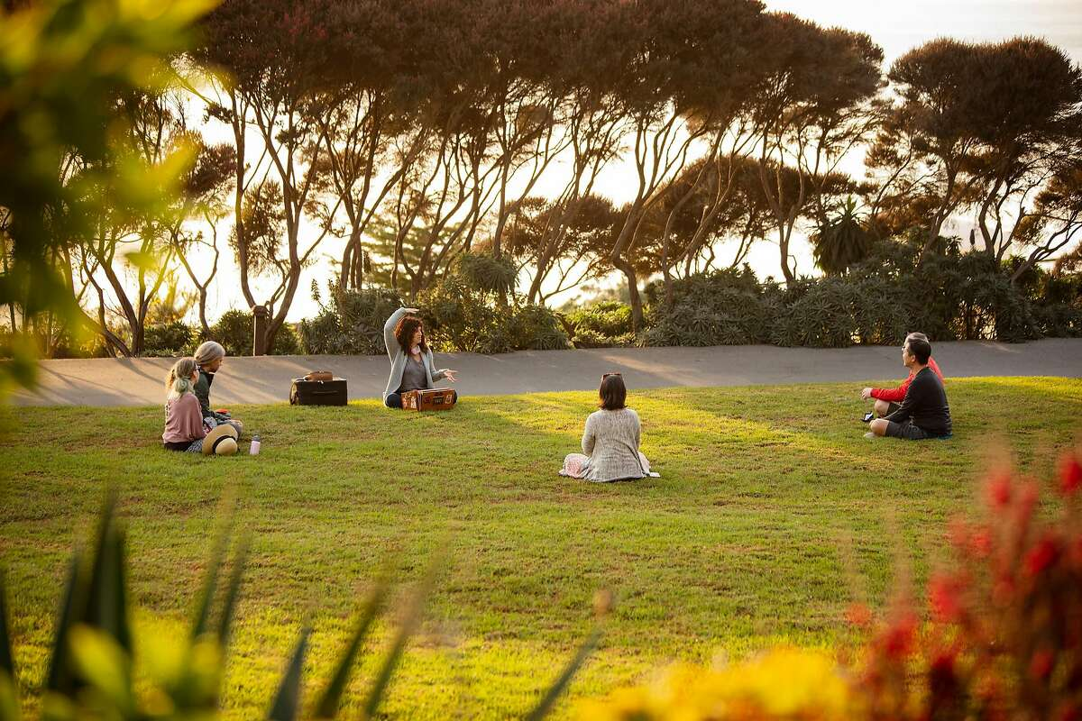 A small group talks Monday at the Esalen Institute reopening.