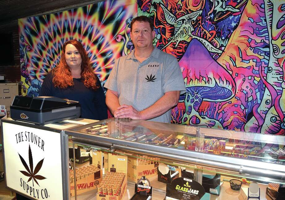 Felicia Lopez (left) and Clint Newingham, owners of The Stoner Supply Co., are opening a cannabis supply shop in White Hall. Photo: Rochelle Eiselt | Journal-Courier