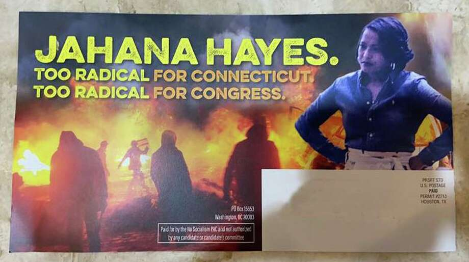 This mailer was sent in Connecticut's 5th District by No Socialism PAC, a single-candidate political action committee making independent expenditures to support Republican David Sullivan in the 2020 congressional race. U.S. Rep. Jahana Hayes, D-5, is named and pictured on the mailer. Photo: Contributed