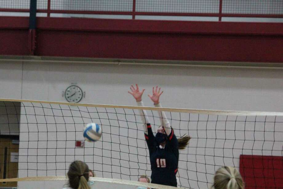 Big Rapids' Karli Hughes (10) goes after the ball against Tri County on Wednesday. (Pioneer photo/John Raffel)