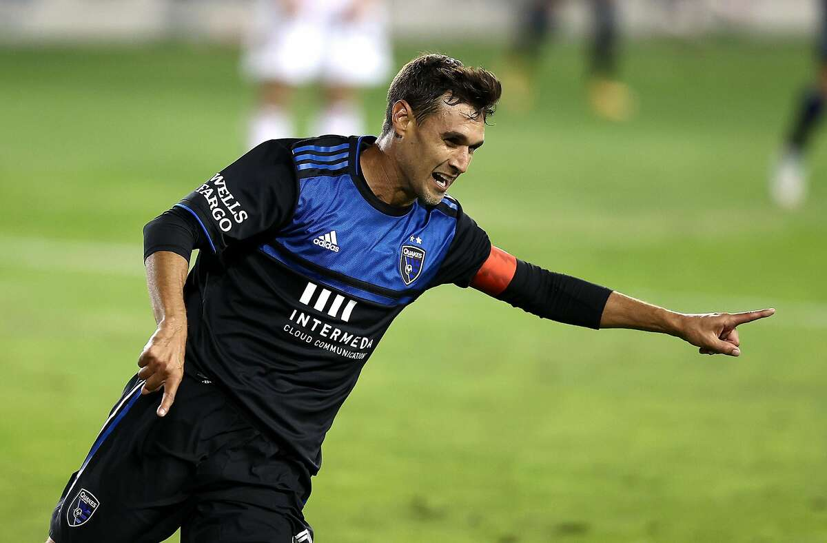 SAN JOSE, CALIFORNIA - OCTOBER 28: Chris Wondolowski #8 of San Jose Earthquakes celebrates after he scored a goal in the second half against the Real Salt Lake at Earthquakes Stadium on October 28, 2020 in San Jose, California. (Photo by Ezra Shaw/Getty Images)