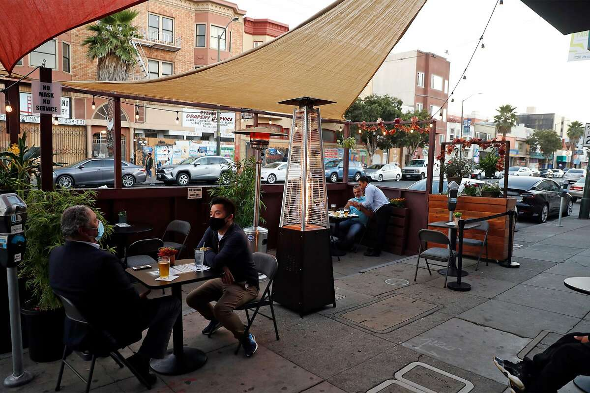 Parklet at the Bottoms Up Bar and Lounge on Mission Street.