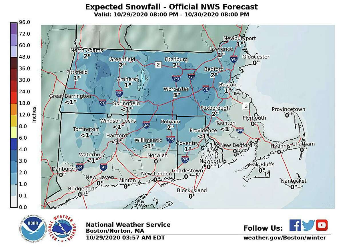 The rain will change to snow across northern sections towards daybreak on Friday with little in the way of accumulation expected. Only the higher elevation towns in northwest and northeast Connecticut will see measurable snowfall in the 1 to 2 inch range.