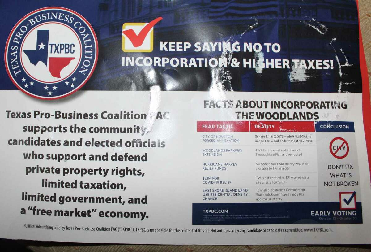These mailers sent by the Texas Pro-Business Coalition PAC during the 2020 election season were paid for, according to state financial filings by the PAC, with donations from a consortium of private citizens who work at various development and construction firms across the Houston region.